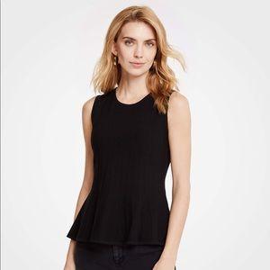 Ann Taylor Never Worn Black Knit Peplum Shirt